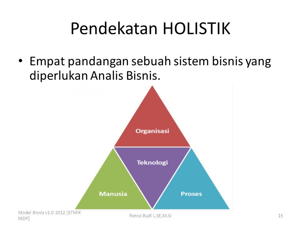 Pendekatan HOLISTIK Empat pandangan sebuah sistem bisnis yang diperlukan Analis Bisnis. Model Bisnis v1.0 2012 [STMIK MDP]